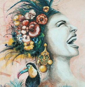 PAINTING OF WOMAN SMILING WITH BIRD
