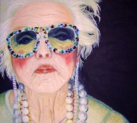 Painting of older woman by laura wolf
