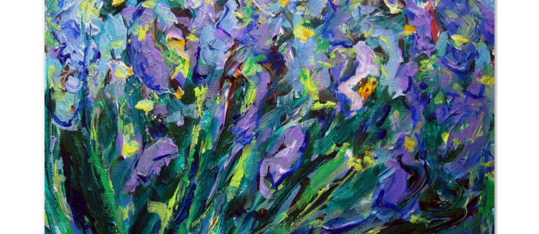 Art poster print of Abstract Irises Painting by DonnaBellas