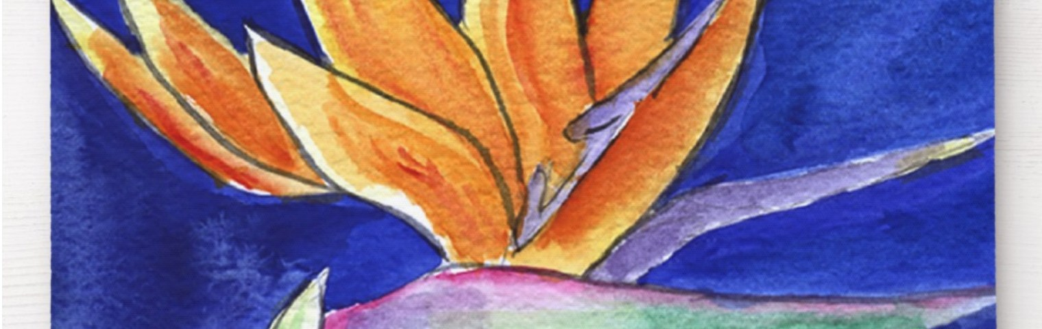Bird of Paradise Flower Watercolor Art Painting