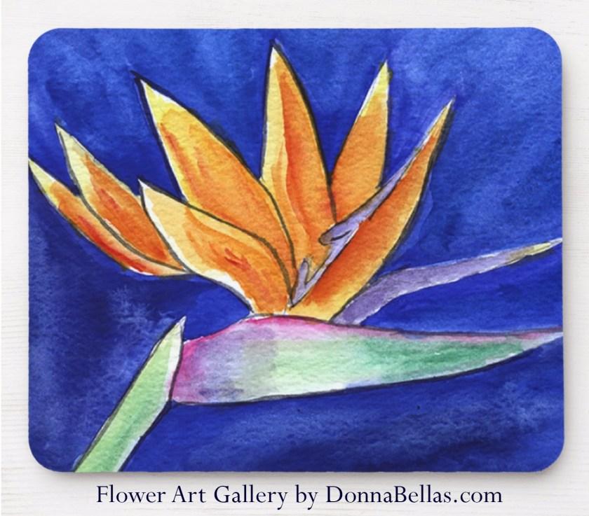 Bird of Paradise Flower Watercolor Art Painting