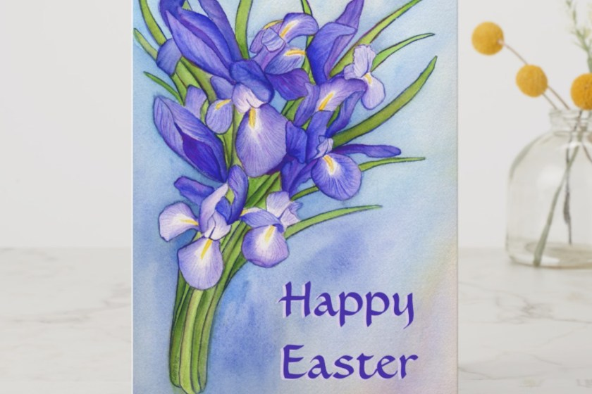 Happy Easter Iris Flowers Art Painting Custom Greeting Cards by DonnaBellas.com