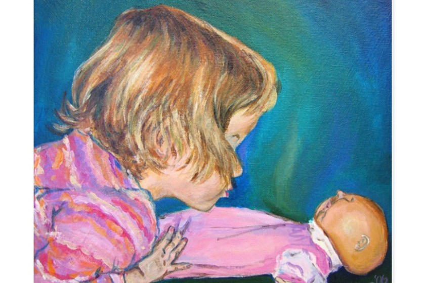 Pink Pajamas Toddler Portrait Art Painting