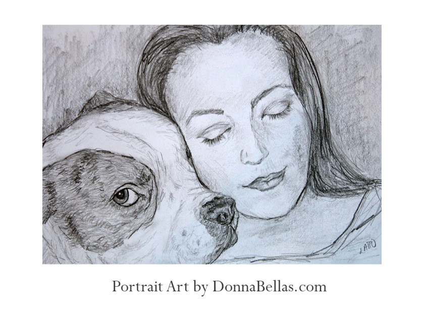 Pet bulldog and loving owner pencil drawing portrait by DonnaBellas.com