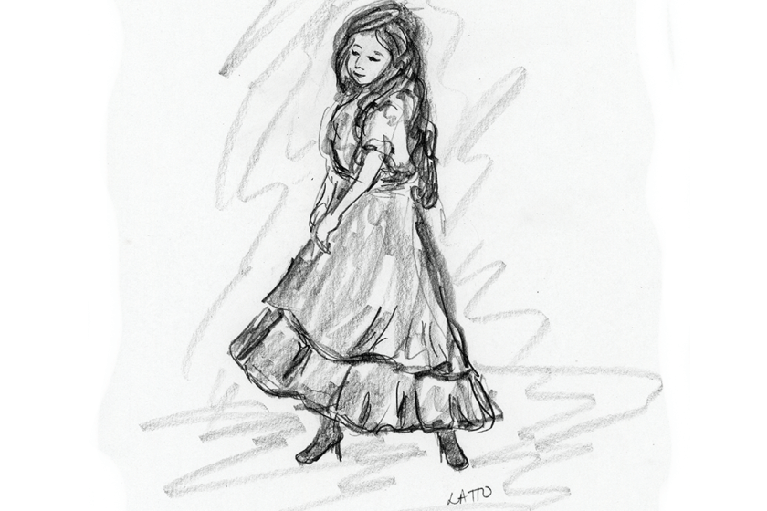 "Pencil sketch drawing of opera ""Carmen"" from San Diego Opera's Artist Night"