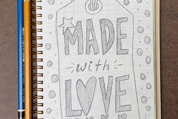Made with Love Illustrated Lettering Art Drawing Pencil Sketchbook