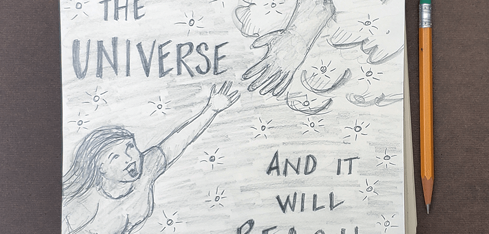 Reach for the Universe Pencil Sketch Art Drawing