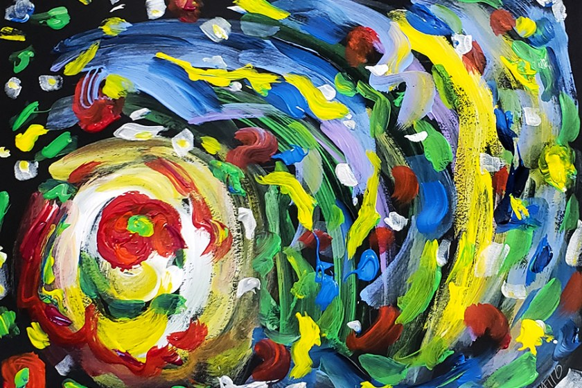 Abstract Painting 10 on Colored Paper (Wet Paint)