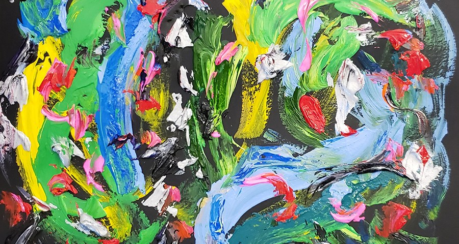 Abstract Painting 15 on Colored Paper (Wet Paint)