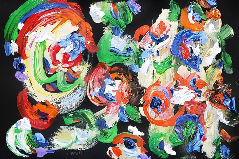 Abstract Art Painting 17 on Colored Paper (Wet Paint)