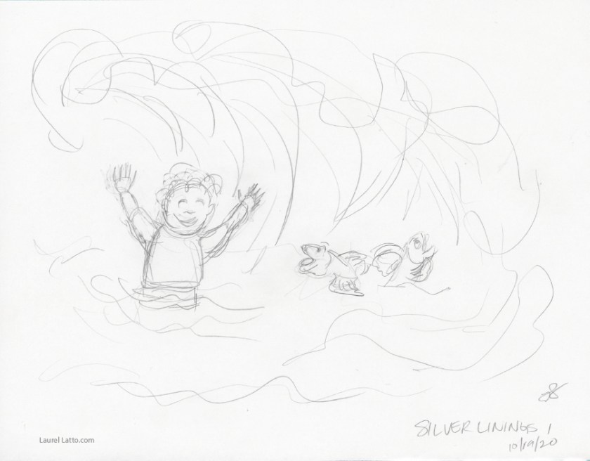 Surfing Silver Linings Narrative Art Illustration (Panel 1 Pencil Sketch)