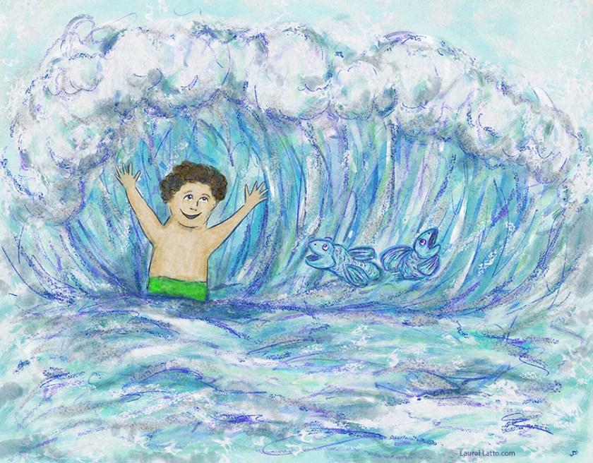 Surfing Silver Linings Narrative Art Illustration (Panel 1)