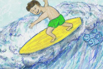 Surfing Silver Linings Narrative Art Illustration (Panel 3 Detail)