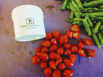 Sweety Drop Peppers and cut asparagus