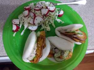 Sweet Potato and Spicy Cucumber Bao meal