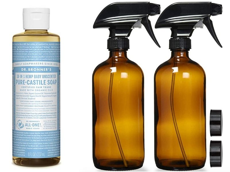 Castile soap and amber spray bottles