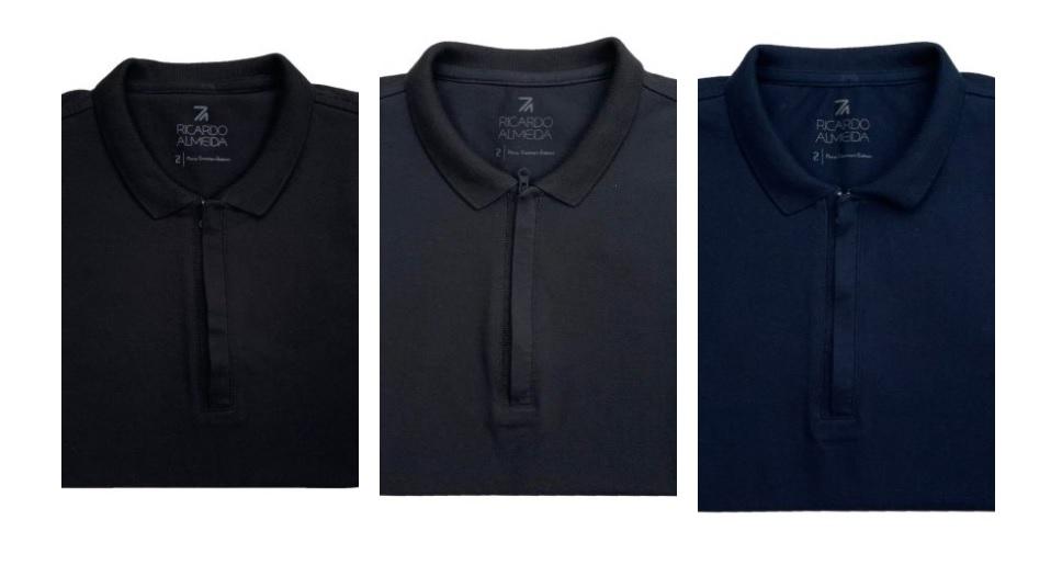 Camisa Polo com zíper