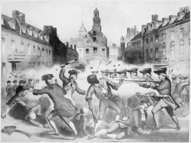 Crispus Attucks from the19th-century lithograph by Paul Revere depicting the Boston Massacre