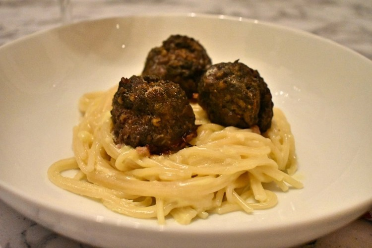 Haggis Meatballs in a Creamy White Wine and Parmesan Sauce