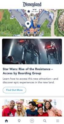 A screenshot from the Disneyland app of the main page for you to get a Rise of the Resistance boarding group.