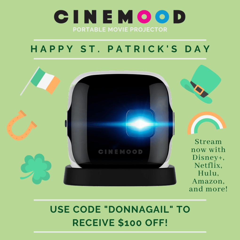 Save $100 off of Cinemood with the code DONNAGAIL! Perfect for streaming Netflix, Hulu, Disney+. Amazon, and more!