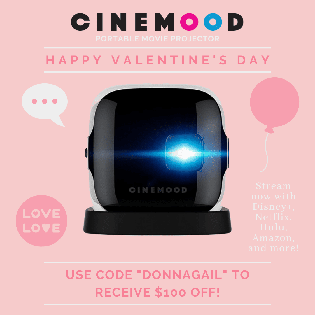 Save $100 off Cinemood portable movie projector with the code DONNAGAIL