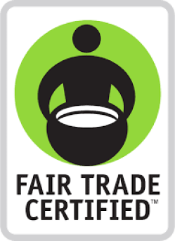 Fair Trade Certified logo that features a stick figure man silhouette holding up a basket.