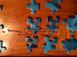 Blue color puzzle pieces