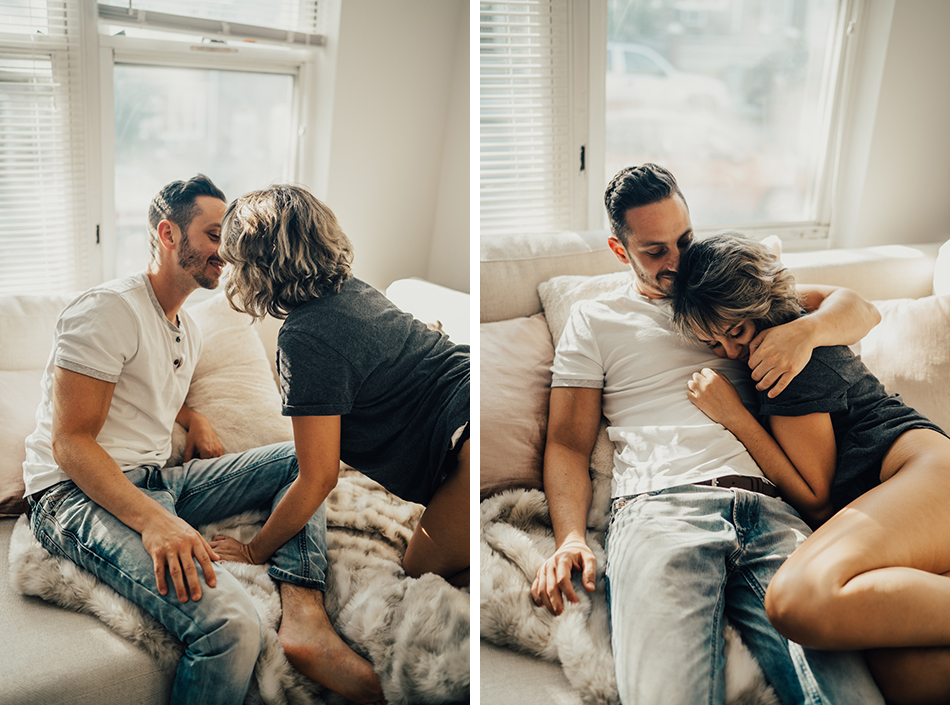 cozy home engagement photos