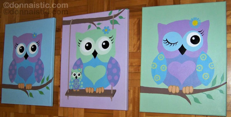 Cute pastel colored owls in a set of 3 canvas, Acrylic Painting by Donna Léger