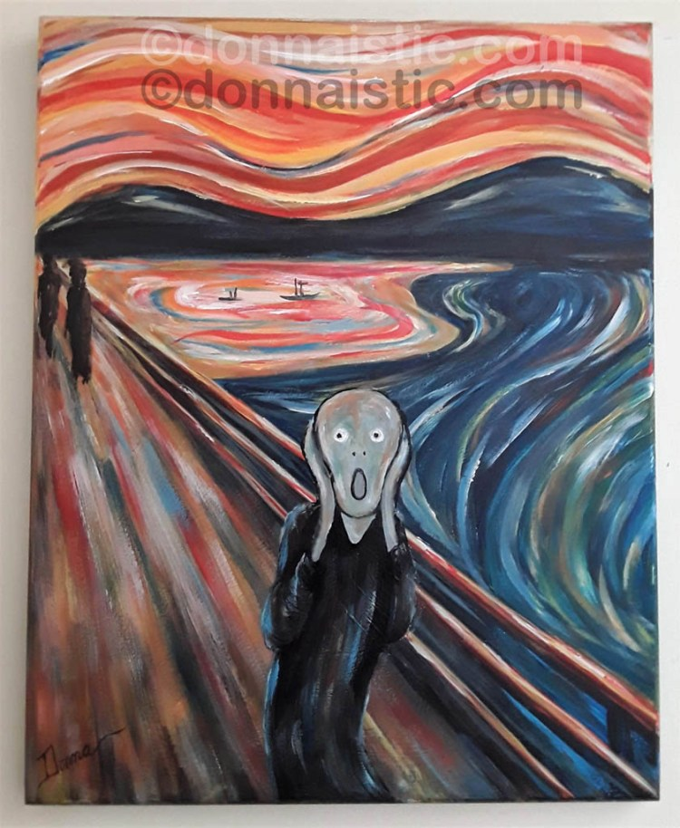 My reproduction version of The Scream. Acrylic Painting on Wood by Donna Léger.