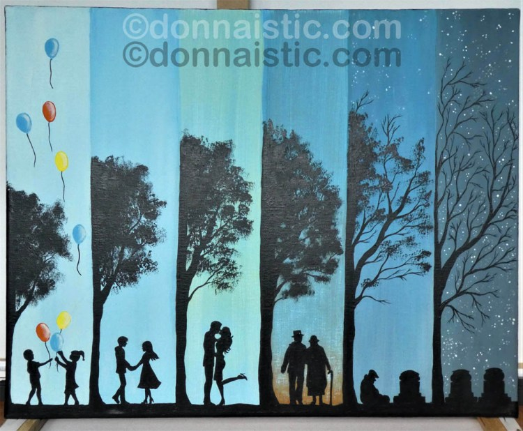 Life's Cycle in stages, from children, teenagers, adults, seniors, and death. Original Acrylic Painting by Donna Léger.