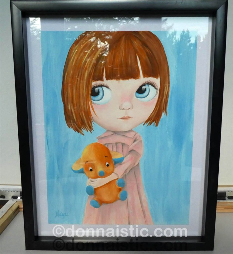 A little girl doll with a short auburn hair and big blue eyes, holding an orange baby elephant stuffed animal toy on a blue background. Acrylic Painting by Donna Léger.