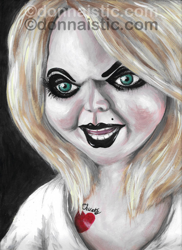 The Bride of Chucky - Tiffany Valentine-Ray. Fan art Acrylic Painting by Donna Léger