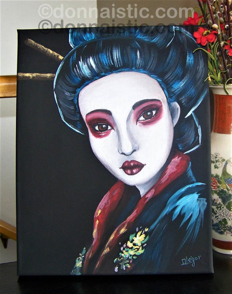 Geisha. By following the Art Sherpa's Geisha Inspired Painting. Acrylic Painting by Donna Léger.
