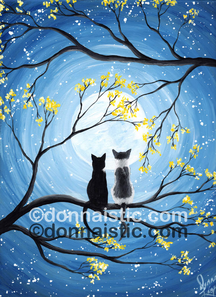 Whimsical Cats and Moon. Made for my cousin Anik. Her two cats Cuddles and Miko. Original Acrylic Painting by Donna Léger.
