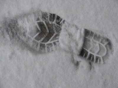 human tracks in the snow