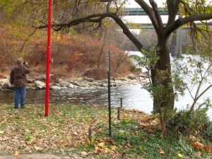 The Wissahickon Creek (left) joins the Schuylkill River (on the right).