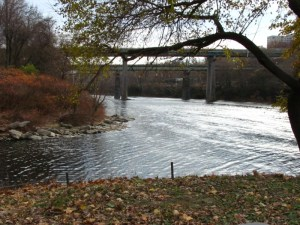 The Wissahickon Creek (left) joins the Schuylkill River.