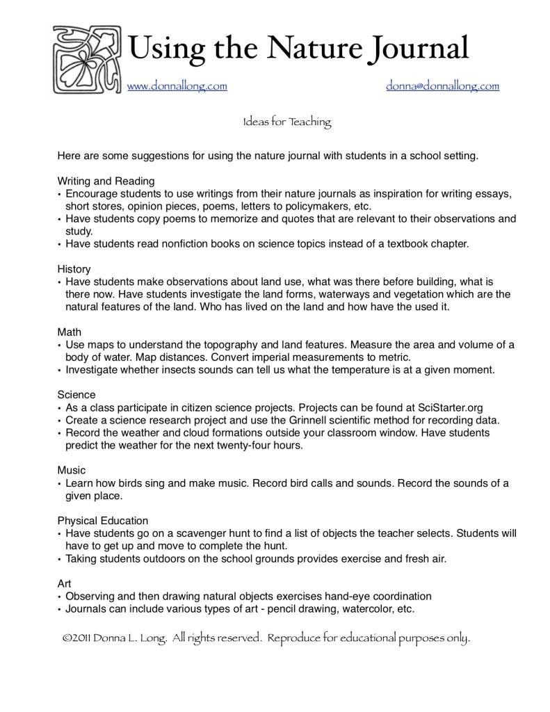 """A """"getting started """" list for using nature journal with your students."""