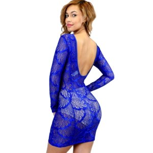 funtime lace bodycon dress blue
