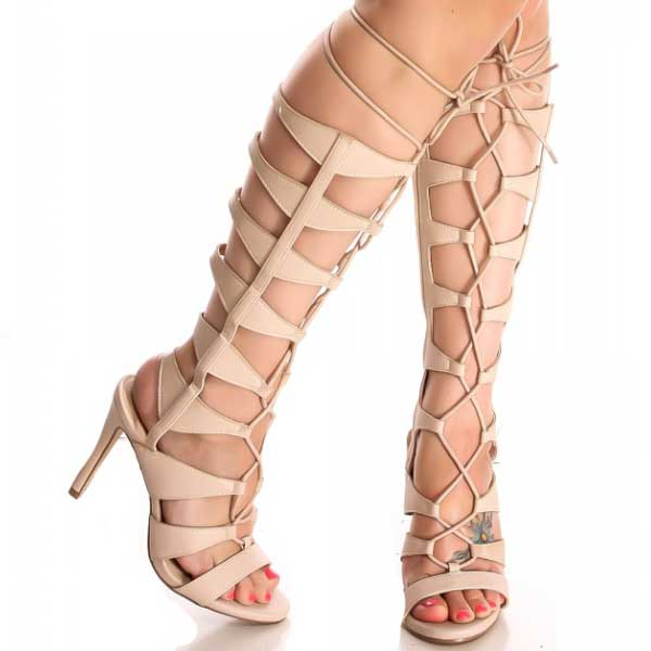 Angel Knee High Lace Up Gladiator Sandals Heels | Donnard's