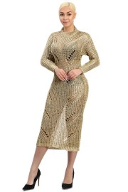 gold laser cut ripped maxi sweater dress front