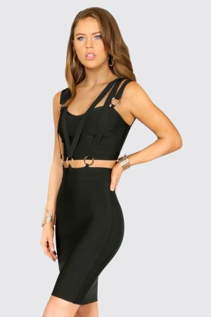 Camini Triple Banded Cut-Out Black Bandage Dress donnards.com