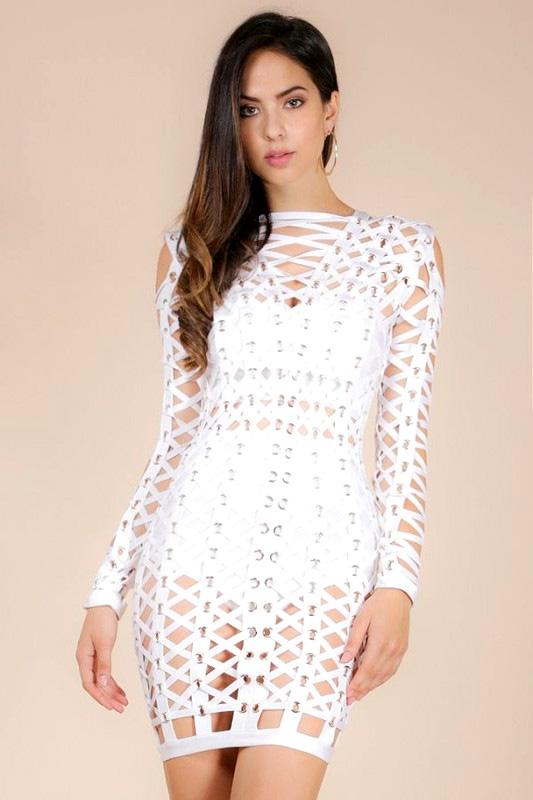 donnards.com Uniq Eyelet Rouleau Lace-up White Bandage Dress