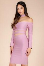 Daisha Collared Choker Bandage Dress donnards.com