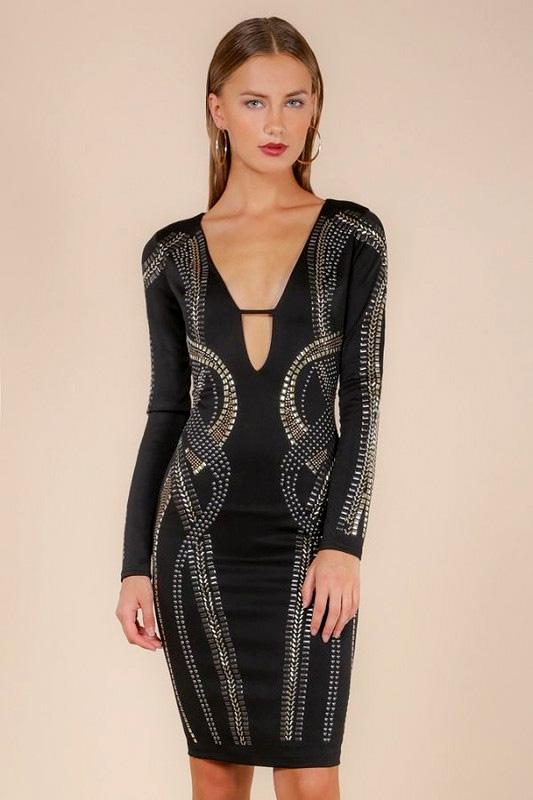 Alexa Plunging Studded Embellished Black Bandage Dress donnards
