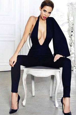 Brizaa Deep V Neck Cape Sleeve Runway Black Jumpsuit