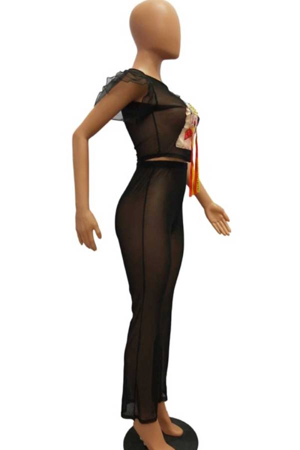 Baaad Girl Character Print Sexy Black Mesh Two-Piece Set
