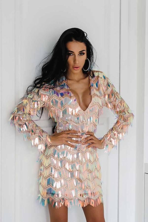 Narcissistic Shimmery Tassel Sequin Elegant Evening V-Neck Dress